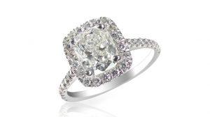 Cushion shape diamond engagement ring