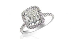 Cushion shape diamond engagement ring