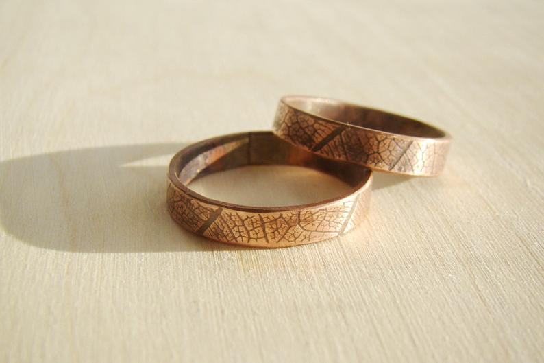 Beautiful couples wedding bands copper