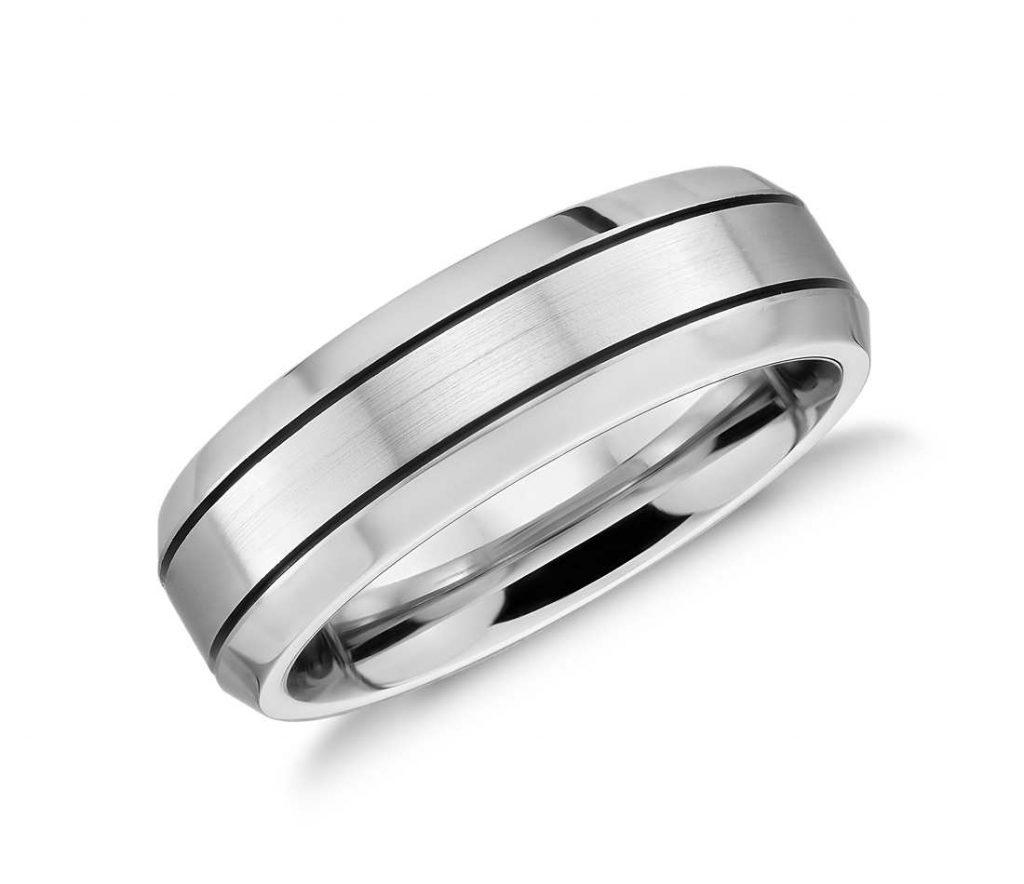 Bevelled edge cobalt chrome wedding ring