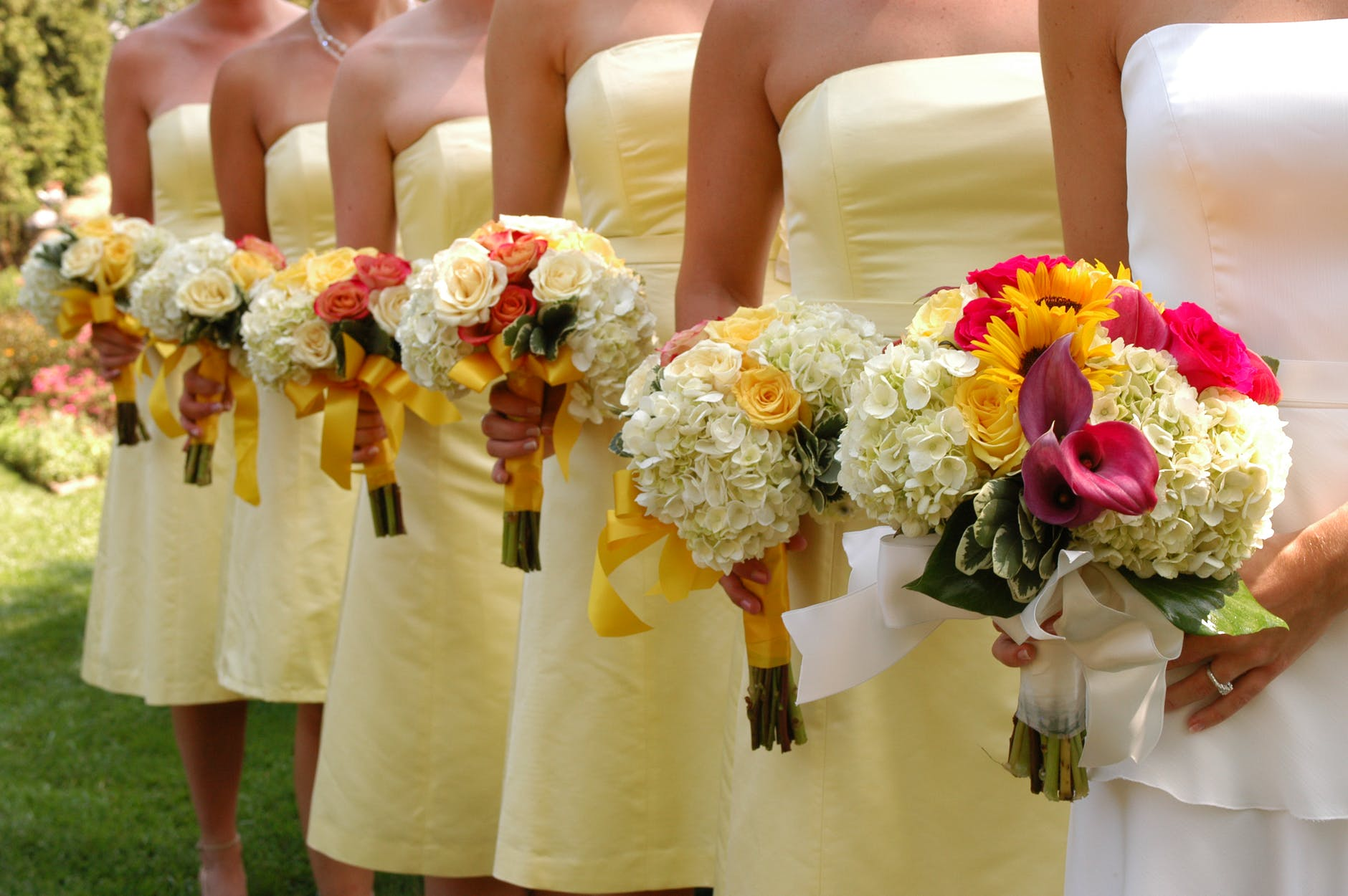 Line of bridesmaids with posies