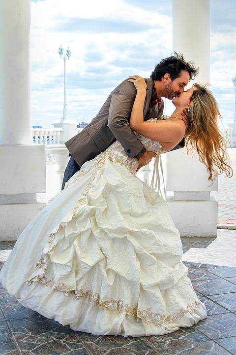 Bride wearing cinderella style wedding gown