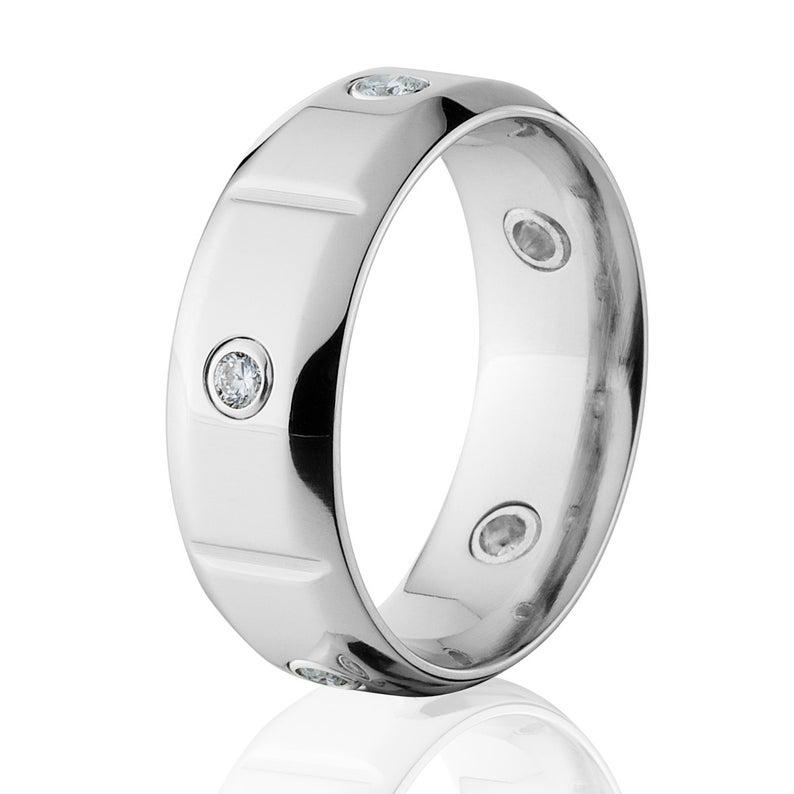 Cobalt ring with diamond