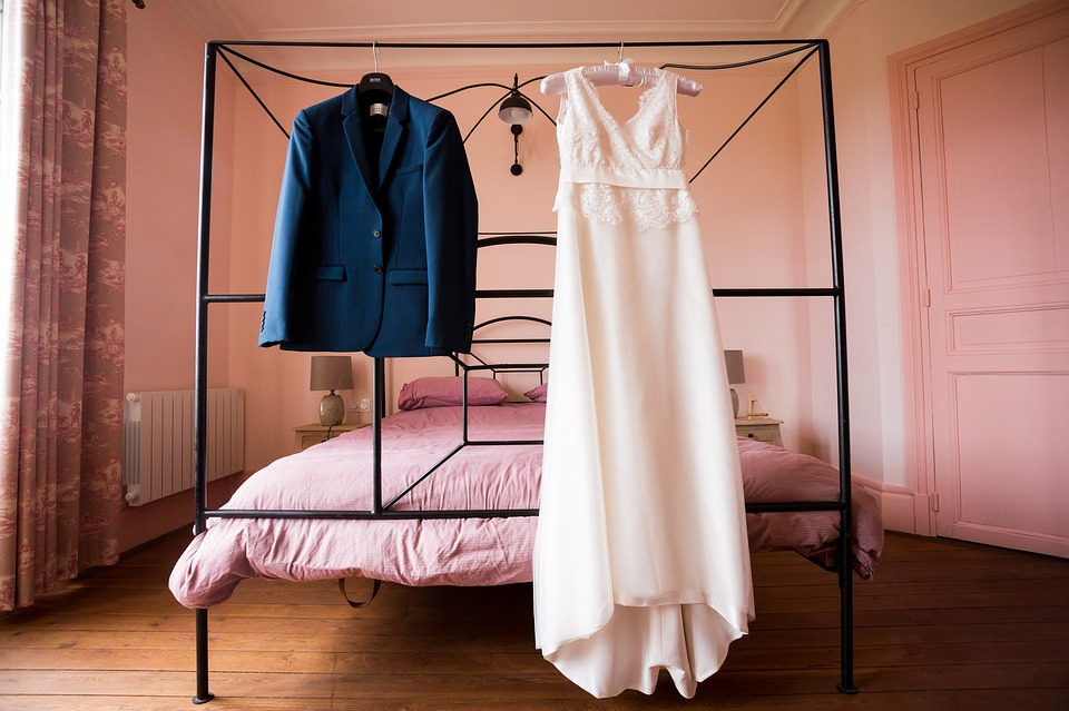 Bride and groom dress and suit