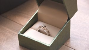 Moissanite engagement ring in a box