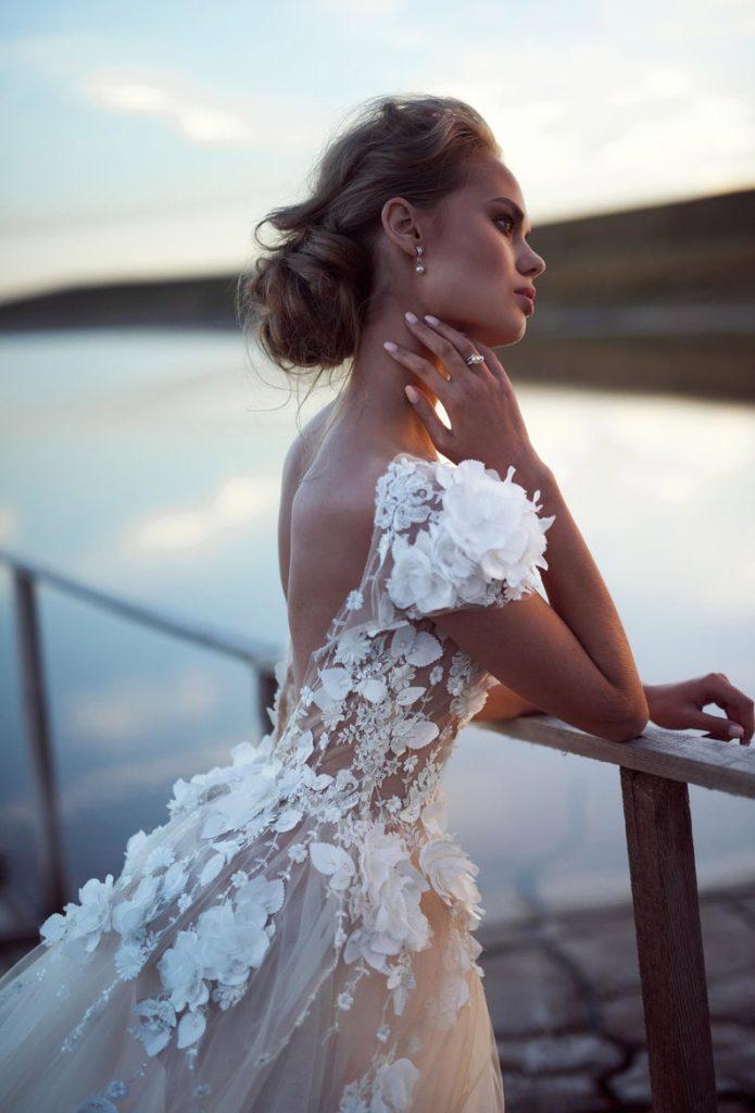 Bride wearing open back gown