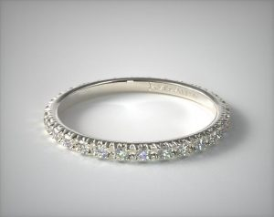 Pave wedding ring in white gold