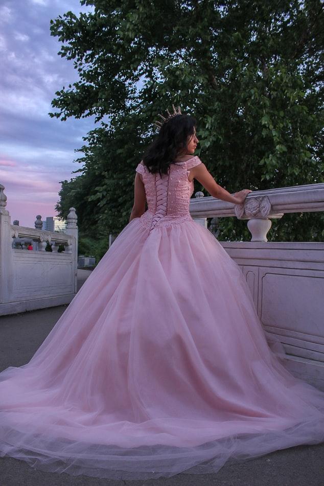 Bride wearing pink wedding dress