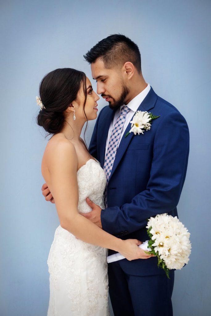Bride holding posy bouquet