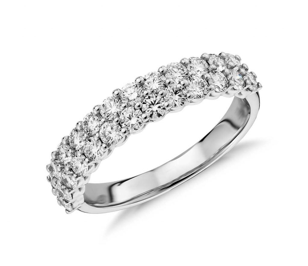 Prong setting wedding band in white gold