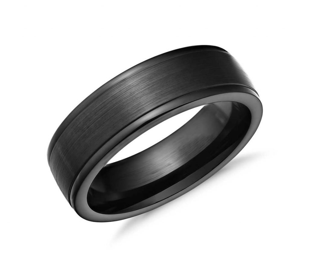 Black satin-finish cobalt chrome wedding ring