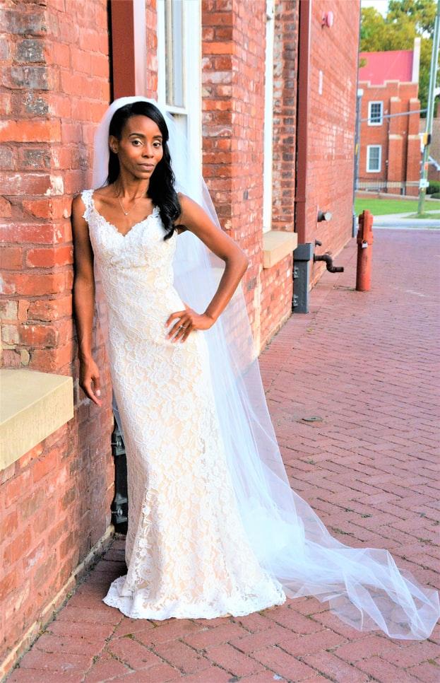 Bride wearing sheath dress