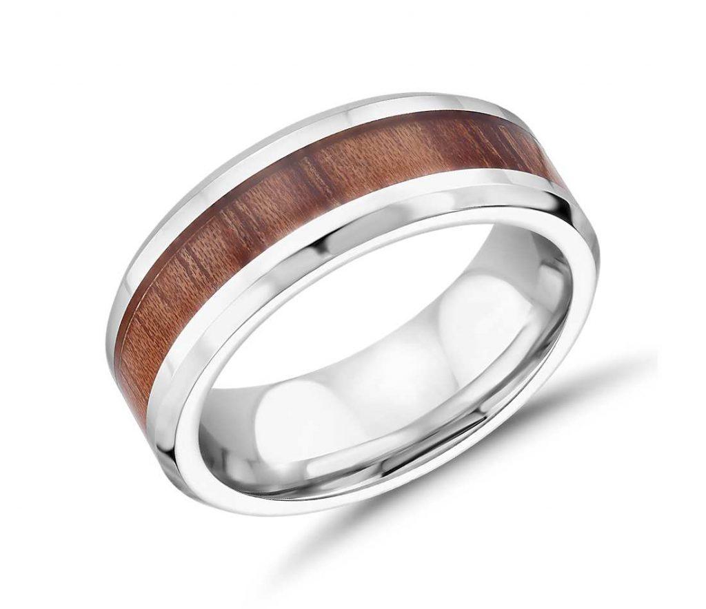 Wood inlay cobalt chrome ring