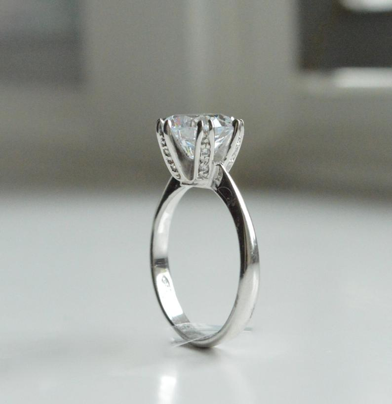4 carat round cubic zirconia engagement ring