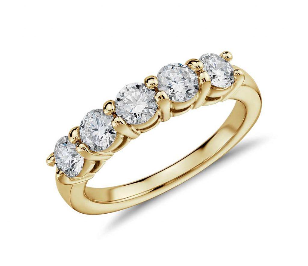 Diamond 5 stone wedding band