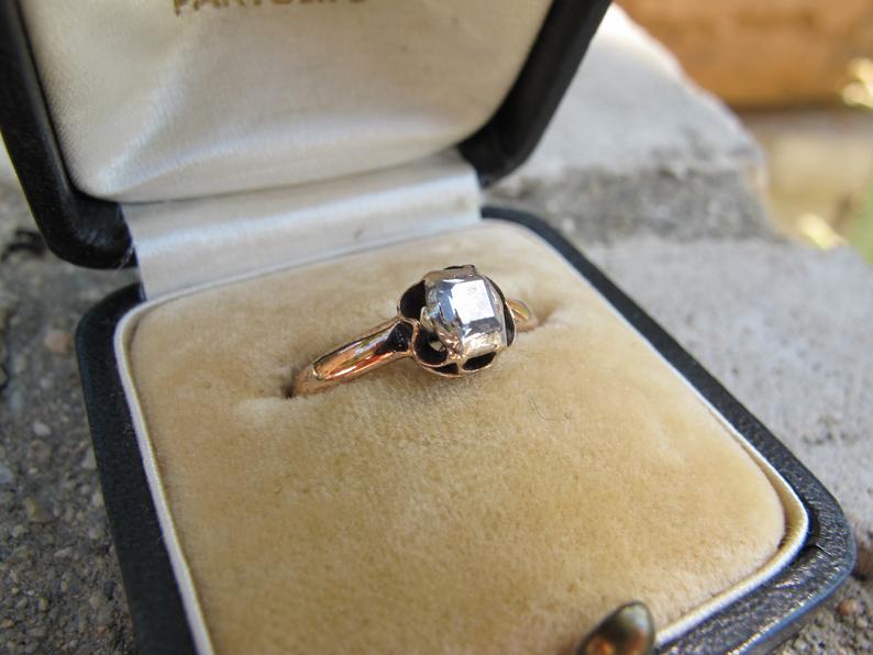 Antique table cut diamond ring