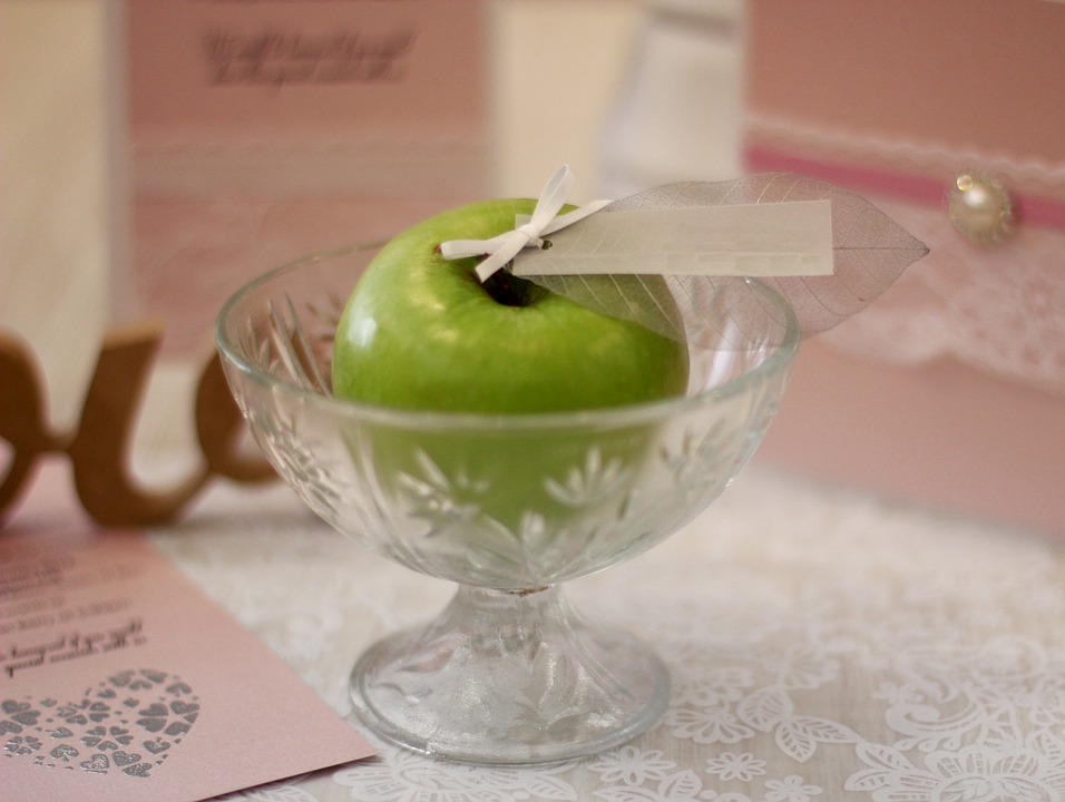 Apple in a jar as wedding favor