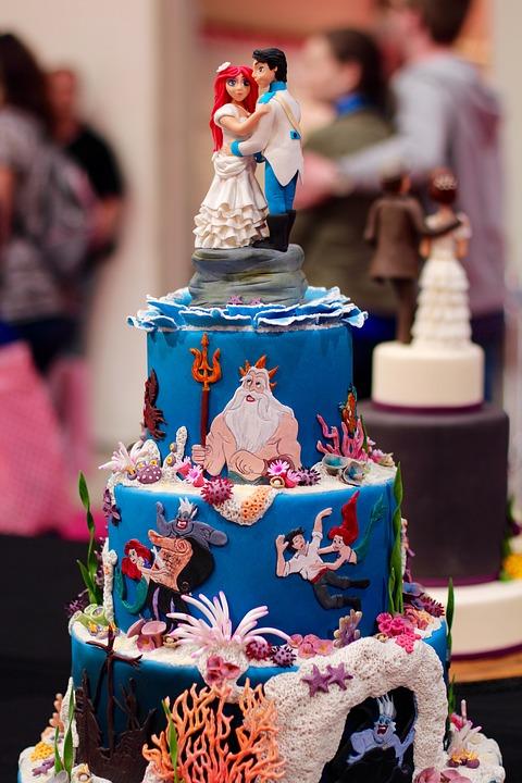 Ariela mermaid themed wedding cake