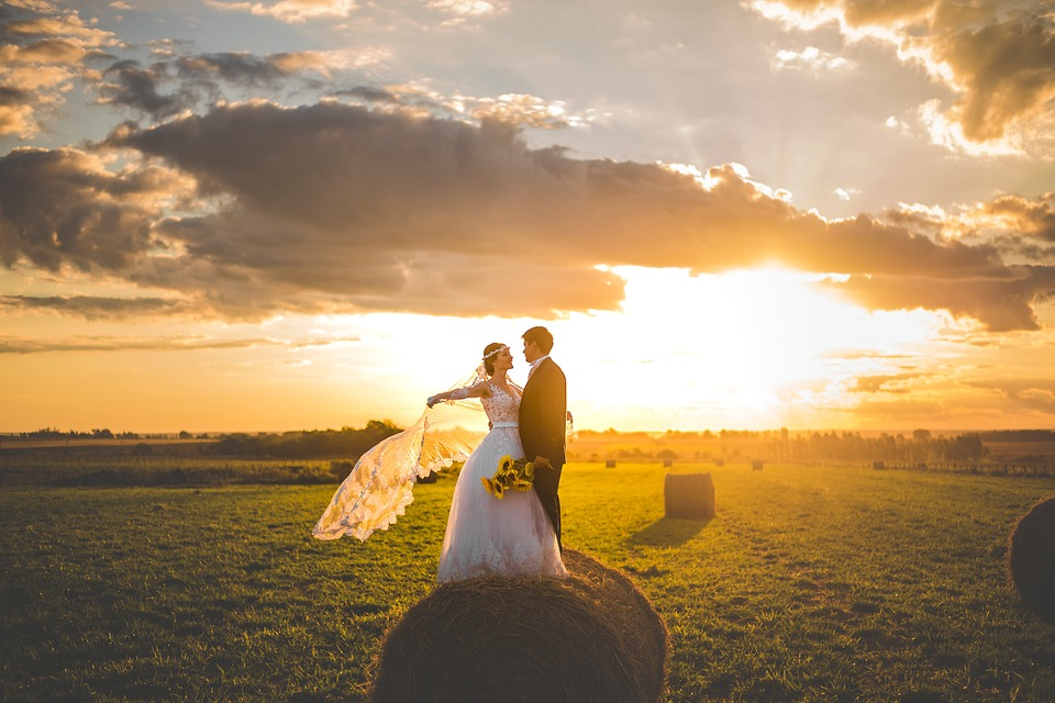 Bride and groom in an artistic photo graphical pose