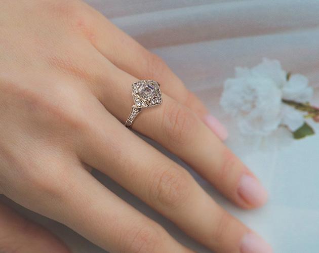 Asscher-shaped diamond ring