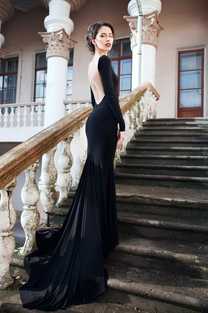 Bride wearing black minimalist wedding dress