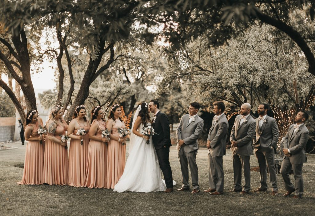 bridal party together photo