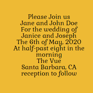 Example of wedding invitation when bride's parents hosting