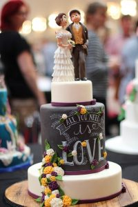 chalkboard style cake for wedding day
