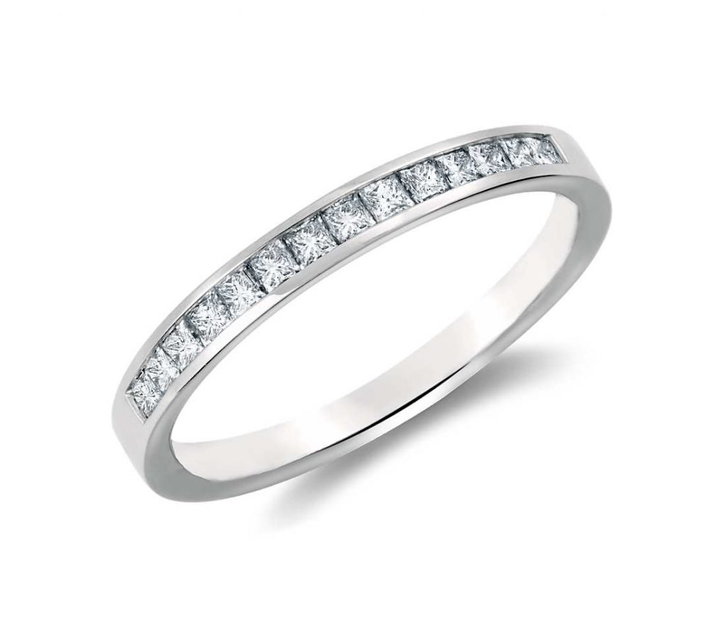 Channel set wedding ring in white gold