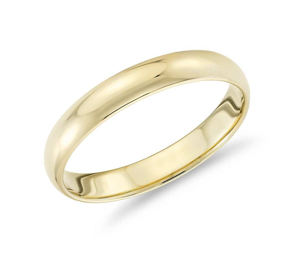 Yellow gold classic wedding band women