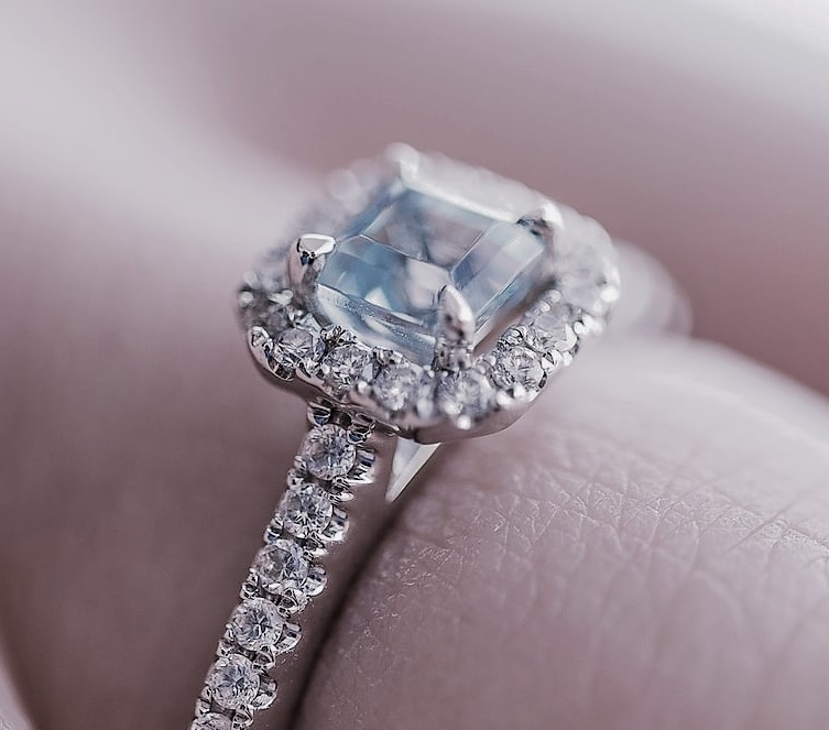 Table diamond set in an engagement ring closeup
