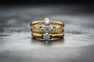 three cubic zirconia engagement rings