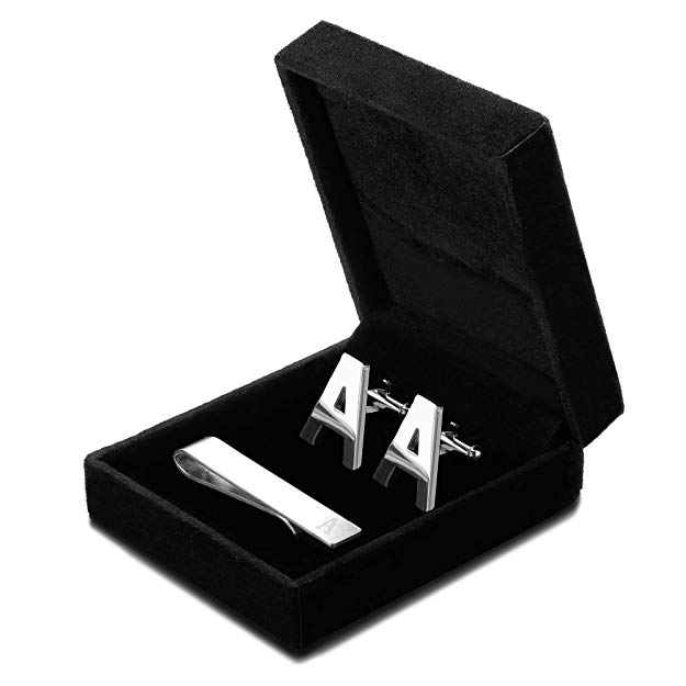 cufflinks and tie-clip personalized in a black box