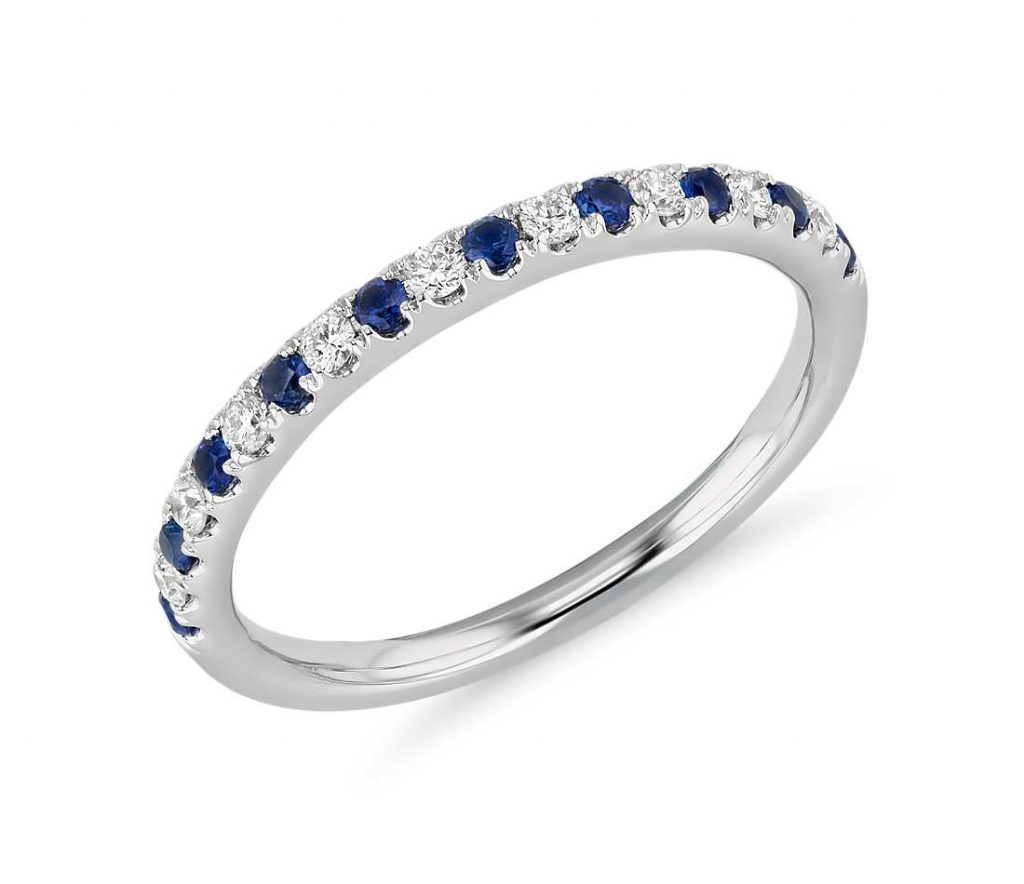 Diamond and sapphire pave set wedding ring women