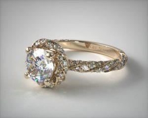 Round shape diamond engagement ring