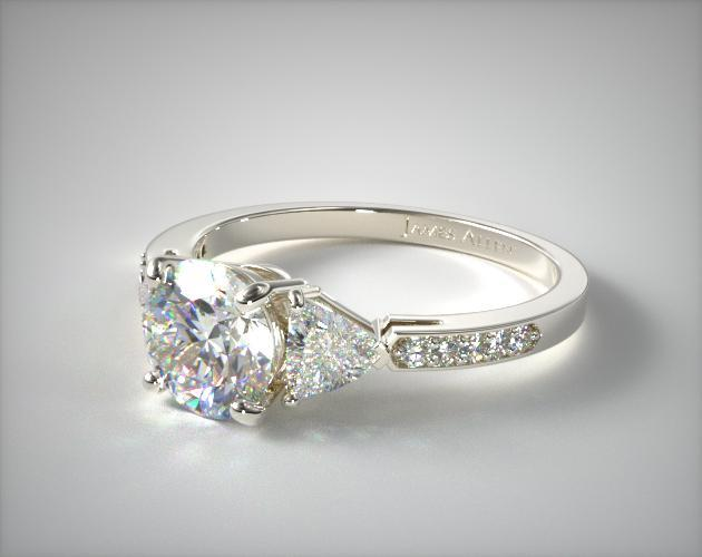 Round diamond with trillions side diamond engagement ring