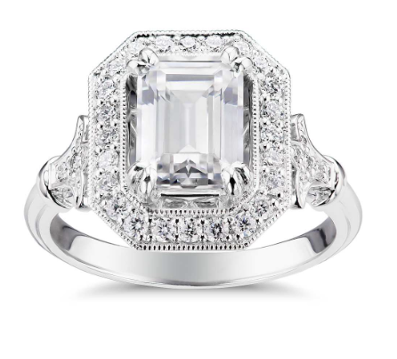 Emerald cut vintage engagement ring