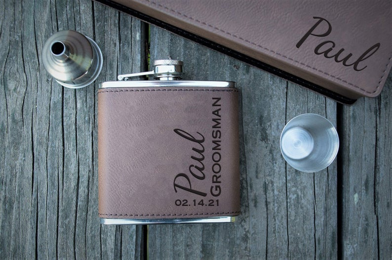 flask personalized for groomsmen