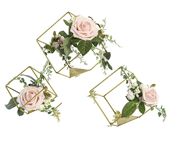 Geometric flower arrangement for wedding table centerpiece