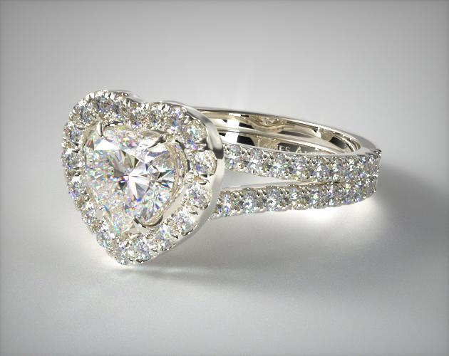 Halo heart shape diamond engagement ring in white gold