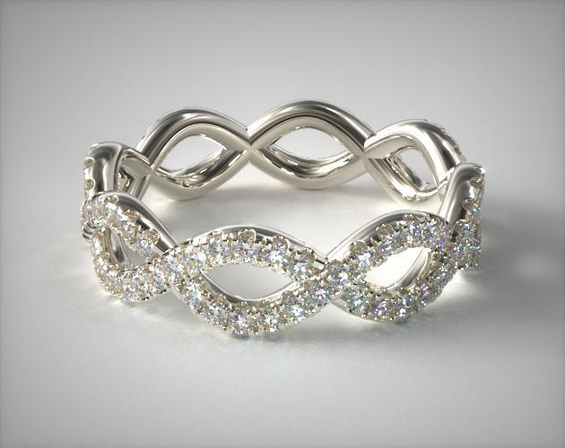 Infinity pave wedding band women
