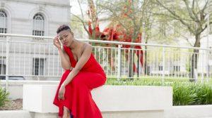 Girl wearing red dress