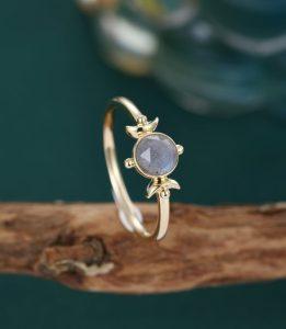 Labradorite rose cut engagement ring