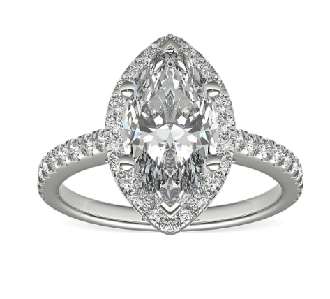 Marquise shape diamond halo setting engagement ring