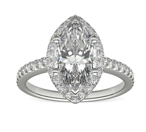 Marquise shape diamond halo setting engagement ring