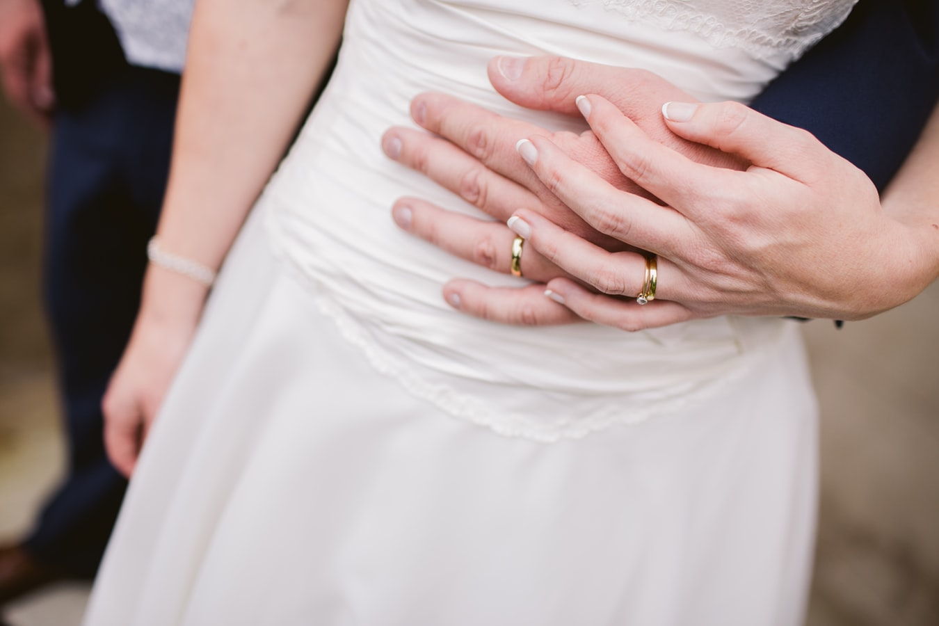 Couple wearing wedding ring holding hand