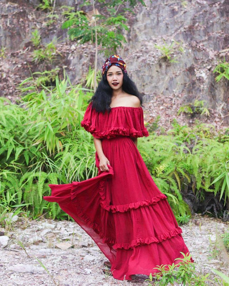 Mexican bridal dress red
