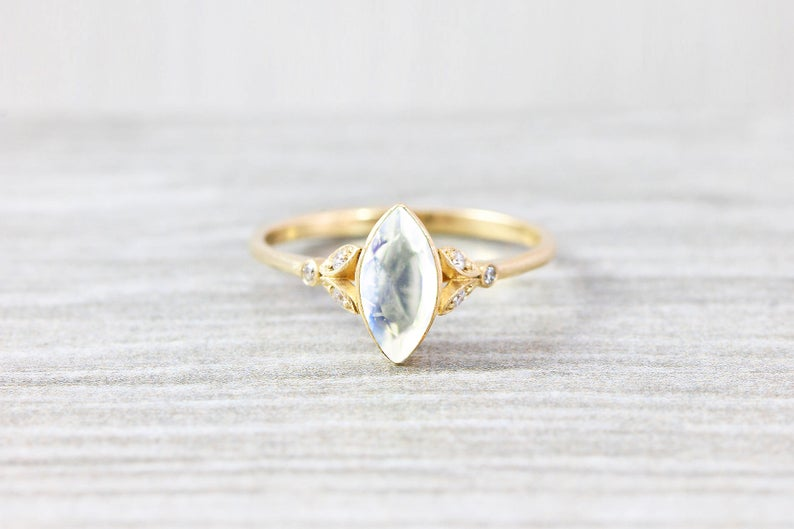 moonstone marquise cut bezel setting