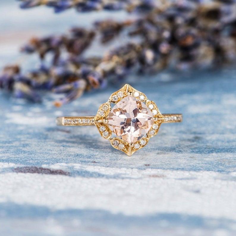 Morganite ring in yellow gold setting