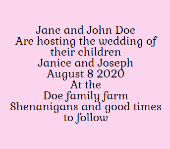 Example of wedding invitation when parents and kids hosting